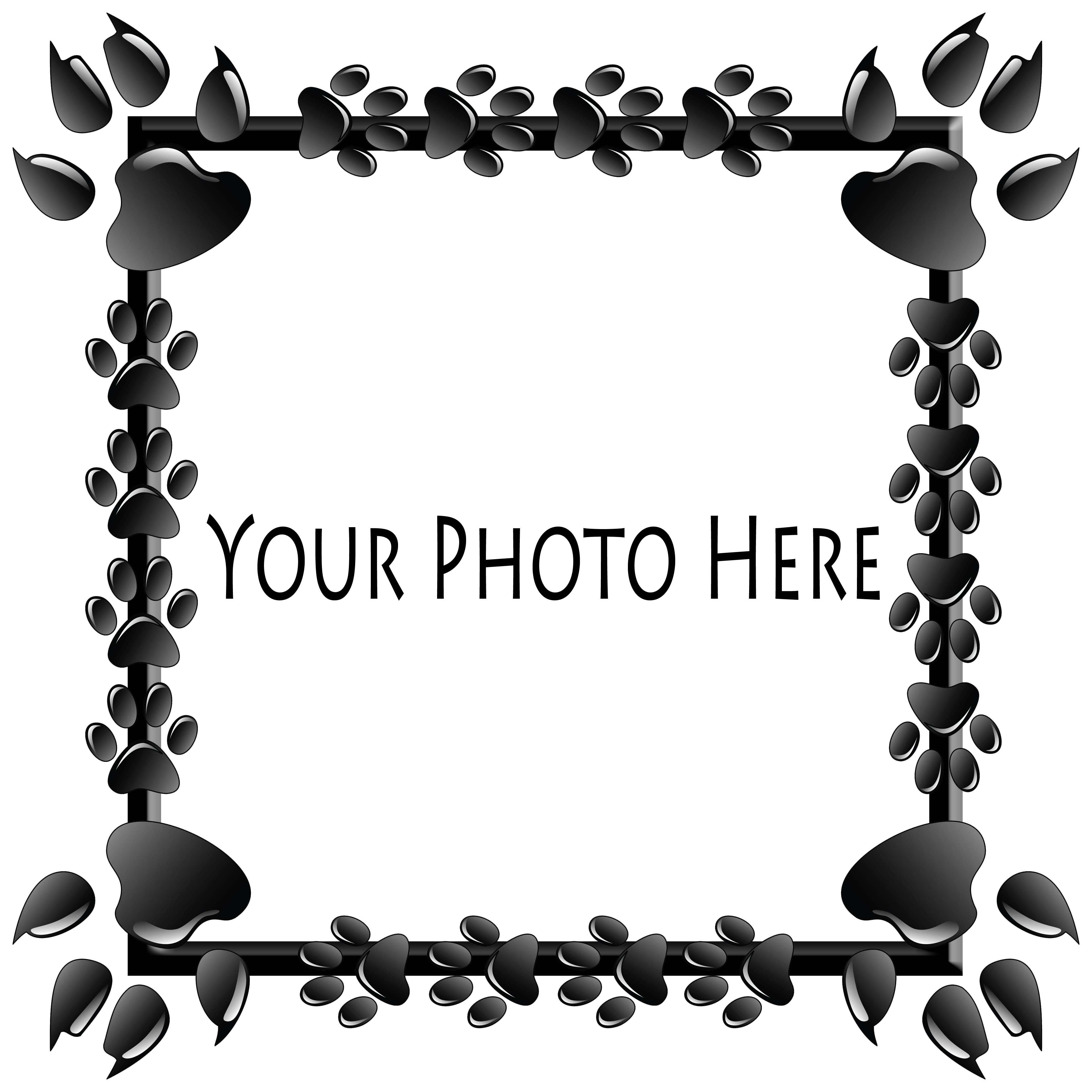 add-pet-photo-inside-black-paws-frame-#2