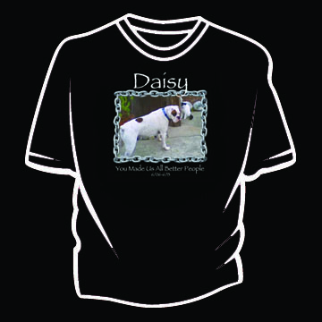 Custom T-shirt with dog photo and chain frame plus text
